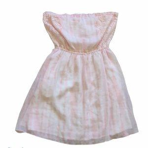 NWT Hollister White & Pink Stipe Strapless Dress